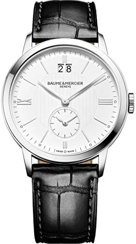 Baume & Mercier Classima Mens Dual Time Zone Watch - Classic 40mm Analog White Face with Big Date Stainless Steel Swiss Made Watch - Black Leather Band Quartz Luxury Dress Watches For Men 10218