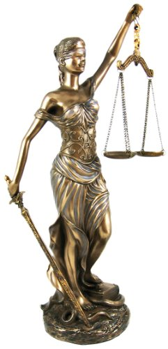 12 Inch La Justica with Scales and Sword Resin Statue Figurine