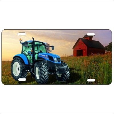 Blue Tractor New Holland Personalized Novelty Front License Plate Custom Farm Decorative Aluminum Car Tag -  ATD Design LLC, LPNEWHOLLAND