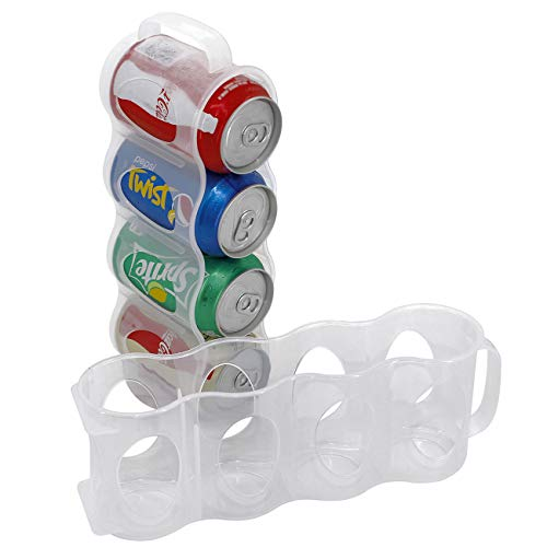 - ChasBete Portable Soda Can Organizer for Refrigerator Shelf, Beer Can Holder, Fridge Storage Sliding Rack, Clear Plastic 2 Pack