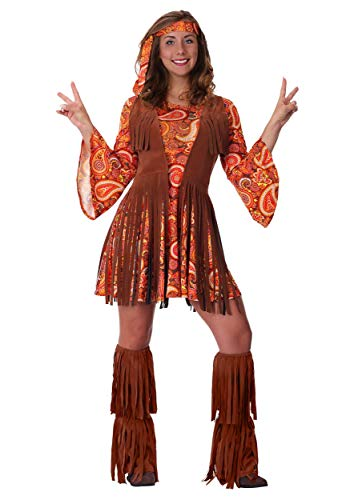 (Women's Plus Size Fringe Hippie Costume 2X)