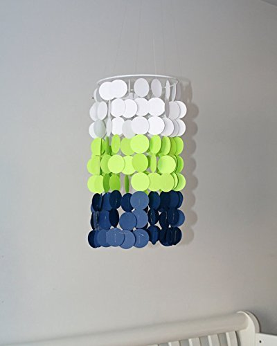 White, Neon Green, and Navy Crib Mobile