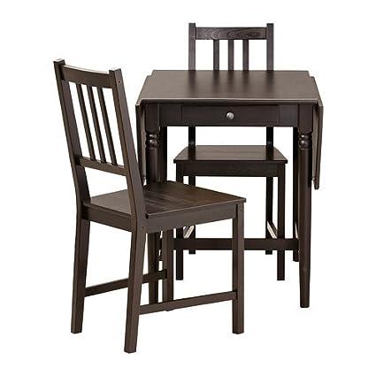 Enjoyable Amazon Com Ikea Table And 2 Chairs Black Brown Ibusinesslaw Wood Chair Design Ideas Ibusinesslaworg