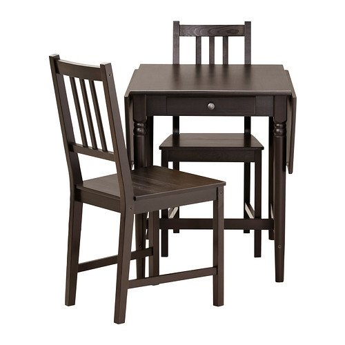 Ikea Table and 2 chairs, black-brown 22020.51426.3430
