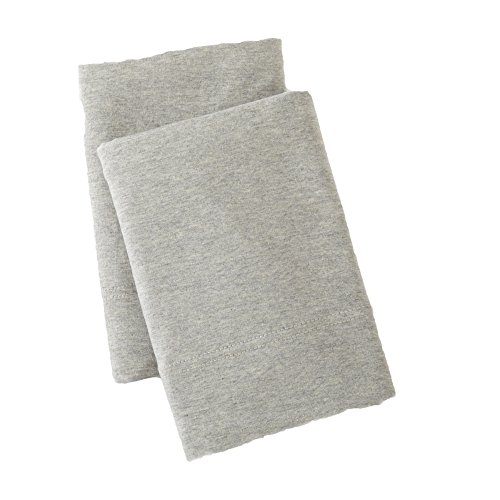 Great Bay Home Extra Soft Heather Jersey Knit (T-Shirt) Pillowcases. 2-Pack of Soft, Comfortable, Cozy Pillowcases. Carmen Collection By Brand. (Standard, Light Grey) (Tops Holiday Knit)