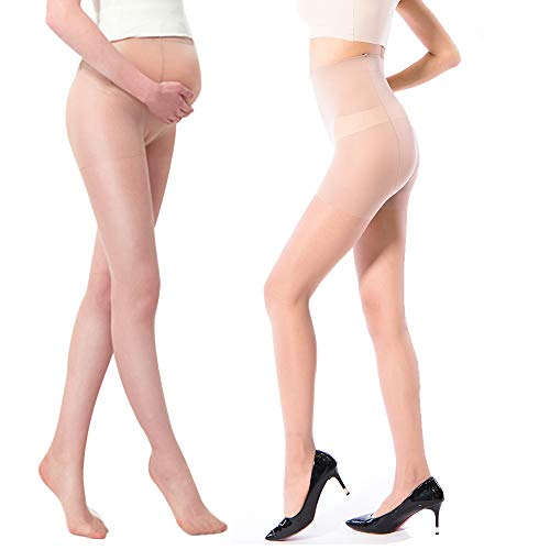 (La Dearchuu 20 Denier Seamless Pantyhose Plus Size Control Top Sheer Tights Maternity for Women Size 2-14)