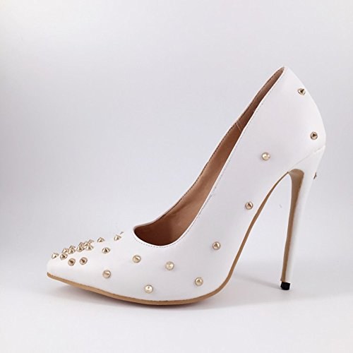 Kolnoo Damen Handgefertigte Klassische verzierte High Heel Pumps mit Spitze Zehen Stiletto Prom Schuhe Nieten White