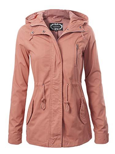 Instar Mode Women's Military Anorak Safari Hoodie Jacket, Ijkw009 Mauve, - Womens Jacket Lightweight