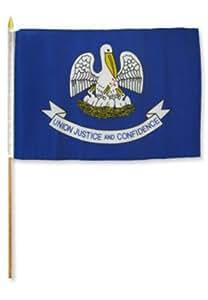 """12 x 18 12 """"x 18 """"Wholesale Lote de 6 Estado de Louisiana Stick bandera de madera personal mejor jardín Outdor Decor Material de poliéster FLAG Premium color vivo y resistente a la decoloración UV"""