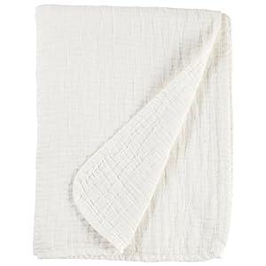 "Stone & Beam Locklar Pick-Stiched Blanket, 80"" x 60"", White"