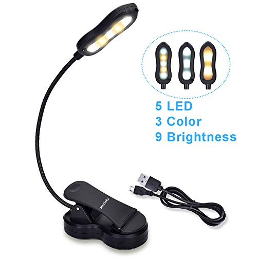 Rechargeable Book Light, Merisky LED Clip on Reading Light for Book in Bed, 3 Color × 3 Brightness, Up to 60 Hours Eye Care Reading, Warm & White, Perfect for Kids, Bed Headboard & Travel