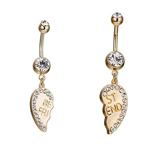 SMUOBT 1 Pairs Best Friend Belly Button Rings for Women Girls Navel Rings CZ Body Piercing Jewelry