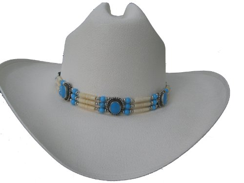 Bone Hat Band - Hat Band or Traditional Bone Choker - #CN-011 - Turquoise & Ivory