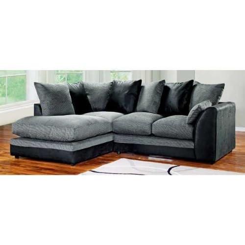 Dylan Byron Corner Group Sofa Black And Charcoal Right Or Left (Black Left)