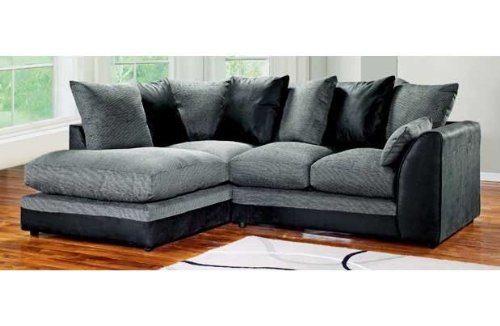 cheaper ab539 59493 Dylan Byron Corner Group Sofa Black and Charcoal Right or Left (Black Left)
