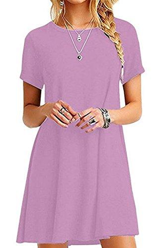 Grande Robe Fashion Femme de Fte Robe Violet Court Plage de Longue t Loose Taille Courtes en Manches Shirt Robes T Casual xIYwq5XH
