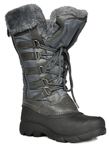 Women's PAIRS Boots Tapanz Calf Mid Fur Faux DREAM Snow Lined grey Winter 5Rzdfqfw