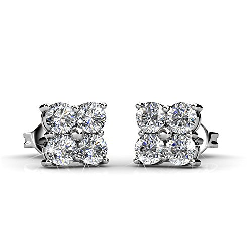 lliance 18k White Gold Cluster Stud Earrings with Swarovski Crystals, Round Diamond Cut Stone Earring Set, Wedding Sparkling Silver Studs for Women - Hypoallergenic - MSRP $123 ()