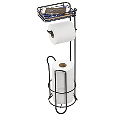 mDesign Free Standing Toilet Paper Holder with Shelf for Bathroom - Matte Black