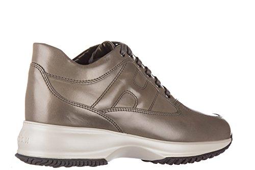 Hogan scarpe sneakers donna in pelle nuove interactive allacciata grigio