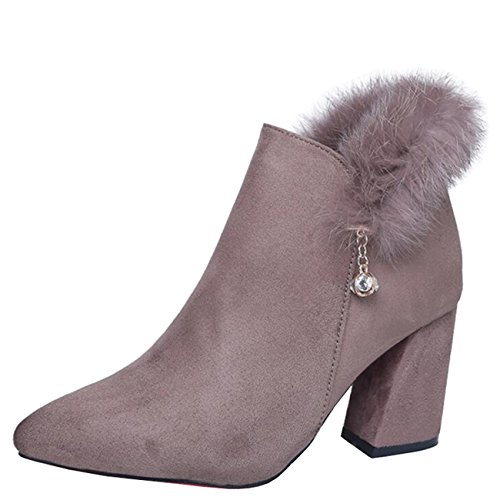 Mashiaoyi Toe Khaki Chukka Zip Boots Block Heel Women's Pointed Diamond wxvBra7w