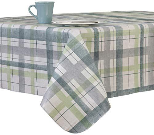 - Lexington Plaid Blue Vinyl Tablecloth, 60