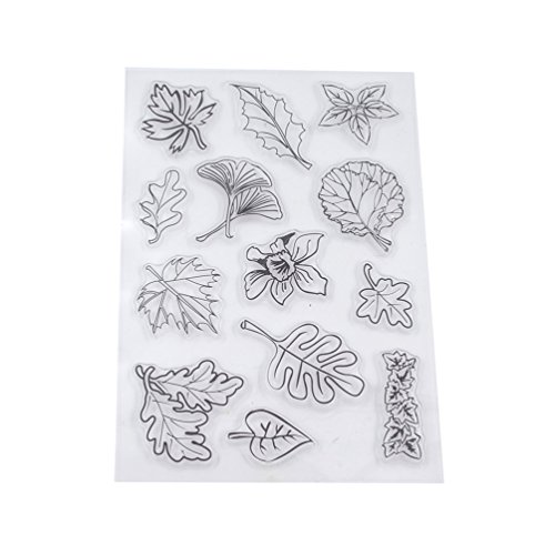 We-buys Vintage Transparent Leaf Leaves Clear Silicone Stamp DIY Craft 1 Sheet
