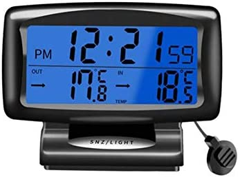 SHZONS DC 12V Display Digital Thermometer Backlight Mini Thermometer LCD Car Inside Outside Thermometer