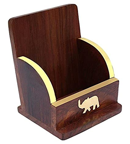 Rgrandsons Wooden And Brass Mobile Table Top Elephant Design Stand Holder Brown 5 Inch