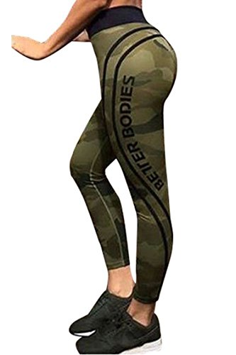 Unique-Shop Womens Elastic Camo Printed Slim Yoga Pants High Waist Sports Capris Leggings,X-Large,Green (Capris Ll Bean)