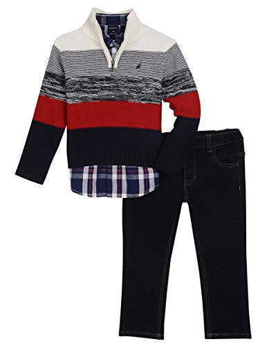 Nautica Toddler Boys' Three Piece Sweater Set, Natural Cream, 4T (Toddler Sweater Boys 3 Piece)