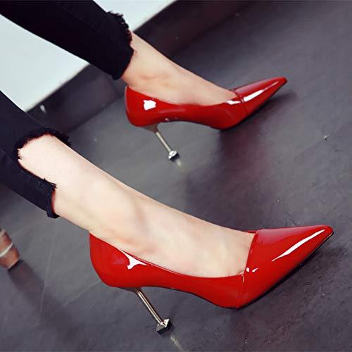 FLYRCX Stil Europäischer Stil FLYRCX einfache Spitze High Heels Stiletto Kätzchen Ferse einzelne Schuhe Damen Hochzeit Schuhe Party Schuhe b02846
