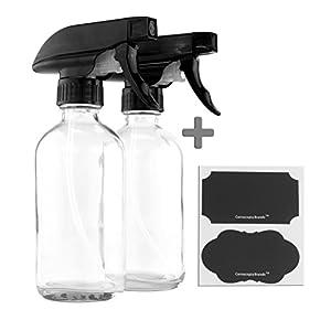 8-Ounce Clear Glass Boston Round Spray Bottles (2-Pack); w/ 3-Setting Adjustable Black Heavy Duty Sprayers & Chalk Labels