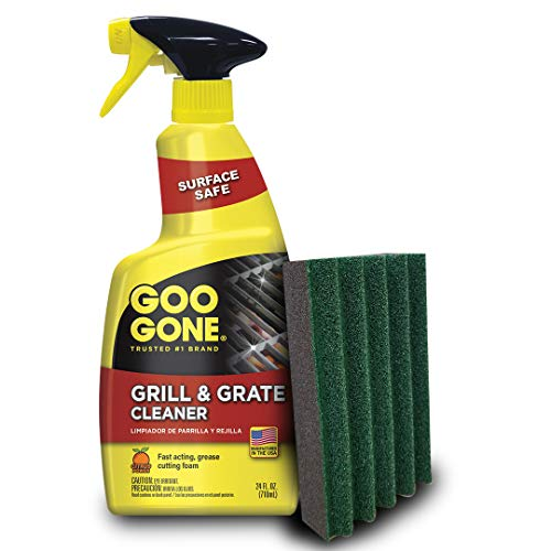 Goo Gone Grill Cleaner and Pad - Cleans Barbecue Grates and Racks - 24 Ounce