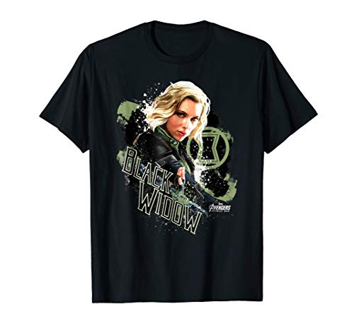 Marvel Infinity War Black Widow Pain Splat Graphic T-Shirt