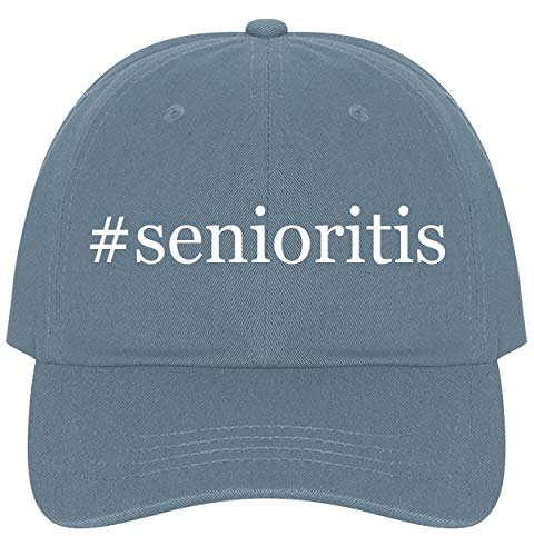 The Town Butler #Senioritis - A Nice Comfortable Adjustable Hashtag Dad Hat Cap, Light Blue
