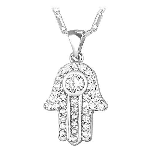 Women Platinum Plated Plated Hamsa Pendant Necklace Cubic Zirconia Jewelry