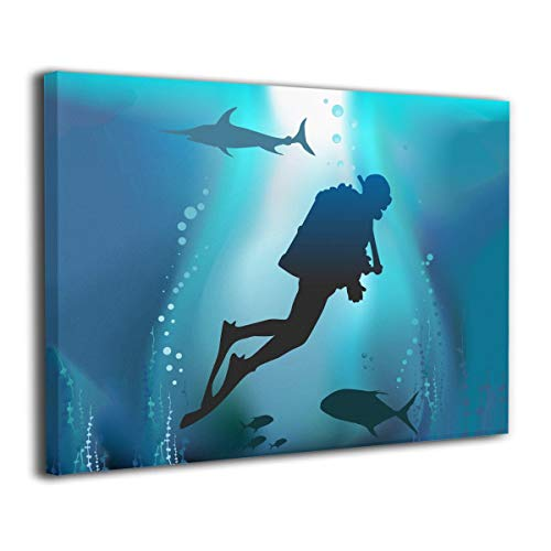 Scuba Diving Pictures - LP ART Canvas Print Wall Art Scuba Diving Picture Painting for Living Room Bedroom Modern Home Decor Ready to Hang Stretched and Framed Artwork 16''x20''