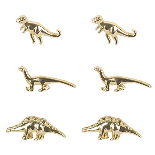 Gold Dinosaurs Earrings Alloy 3 Pairs of Studs Set Punk Cartilage Earrings Cute Animal Jewelry