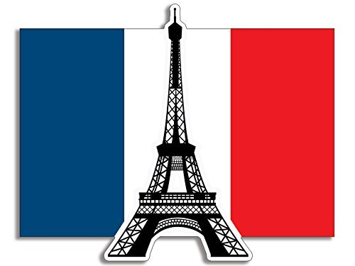 Eiffel Tower on The France Flag Shaped Sticker (Love Paris French Travel) (French Flag Sticker)