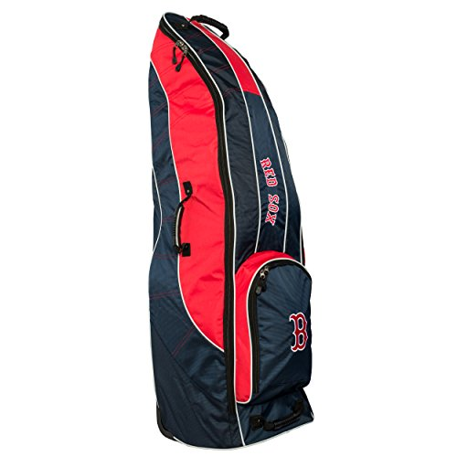 Team Golf MLB Boston Red Sox Travel Golf Bag, High-Impact Plastic Wheelbase, Smooth & Quite Transport, Includes Built-in Shoe Bag, Internal Padding, & ID Card Holder