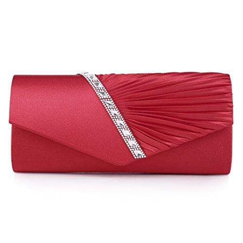 Damara Womens Pleated Crystal-Studded Satin Handbag Evening Clutch,Red