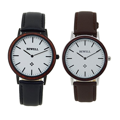 Bewell-Unique-Handmade-Unisex-Wooden-Watch-with-Leather-Strap-Water-Resistant-Analog-Quartz-Wrist-Watches