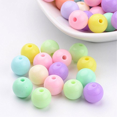 AMZ Beads - Package of 200 beads in 8mm! Acrylic Pastel Assorted Multi-colored Loose Round Ball Beads Mix Light Blue Green Yellow Pink Purple - For Jewelry Making DIY Kids Easter Spring Craft Projects