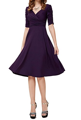 TINYHI 3/4 Sleeve Ruched Waist Elegant V-neck Casual Party Dress Small Purple