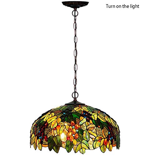 Tiffany Style Pendant Light, 20-Inch Stained Glass Grape Pattern Design Shade Metal Chain Pendant Lamp 3-Light Lighting Fixtures,110-240V