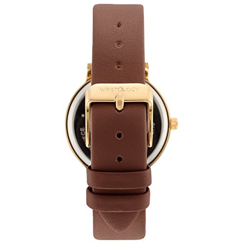 WRISTOLOGY Olivia Womens Numbers Boyfriend Watch Gold Brown Leather Strap by Wristology (Image #2)