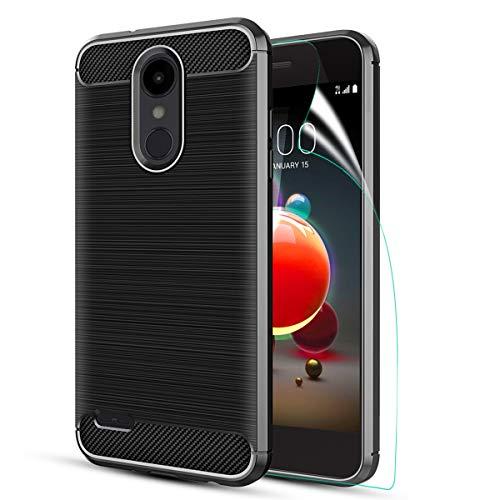 LG Aristo 2 case/LG Tribute Dynasty/Aristo 3/Aristo 3+/Tribute Empire/K8S/Aristo 2 Plus/Fortune 2/Zone 4/k8/Risio 3/k8+ W HD Screen Protector Carbon Fiber Soft TPU Brushed Texture Rubber case, Black