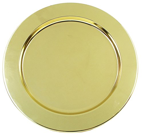 - Ms Lovely Gold Stainless Steel Metal Charger Plates - Set of 4-13 inch