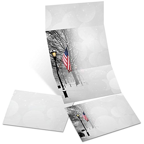 Patriotic Park Winter Scene Printable Fold-up Invitations, 65 lb, 5.5 Inches x 14 Inches, 28 Count